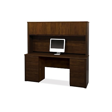 Bestar Prestige + Credenza and Hutch Kit, Chocolate