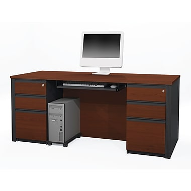 Bestar Prestige + Executive Desk Kit with Fully Assembled Pedestals, Bordeaux/Graphite