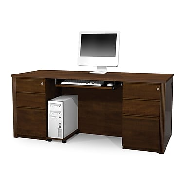 Bestar Prestige + Executive Desk Kit with Fully Assembled Pedestals, Chocolate