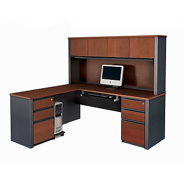 Bestar Prestige + L-Shaped Workstation Kit with Fully Assembled Pedestals, Bordeaux/Graphite