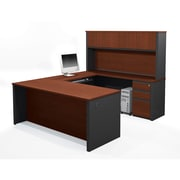 Bestar Prestige + U-Shaped Workstation Kit with Fully Assembled Pedestals, Bordeaux/Graphite