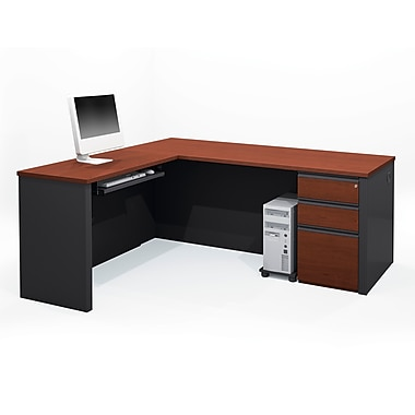 Bestar Prestige + L-Shaped Workstation Kit with Fully Assembled Pedestal, Bordeaux/Graphite