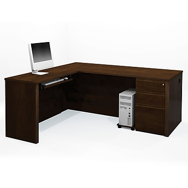 Bestar Prestige + L-Shaped Workstation Kit with Fully Assembled Pedestal, Chocolate