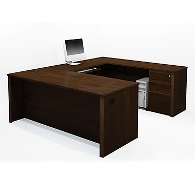Bestar – Ensemble de bureau en U de la collection Prestige+ avec caisson assemblé, chocolat