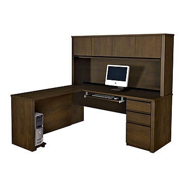 Bestar Prestige + L-Shaped Workstation Kit with Hutch and Assembled Pedestal, Chocolate
