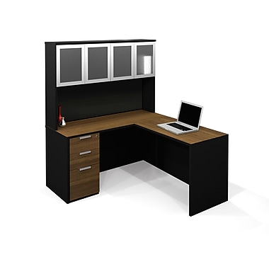 Bestar Pro-Concept L-Shaped with High Hutch and Assembled Pedestal , Milk Chocolate Bamboo/Black