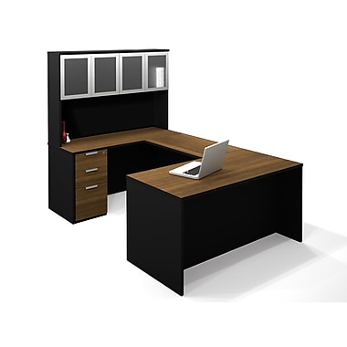 Bestar Pro-Concept U-Shaped with High Hutch and Assembled Pedestal, Milk Chocolate Bamboo/Black