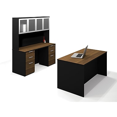 Bestar Pro-Concept Executive Kit with Assembled Pedestals, Milk Chocolate Bamboo/Black