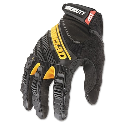 Ironclad Synthetic Leather SuperDuty Gloves, Black/Yellow, Extra Large IRNSDG205XL