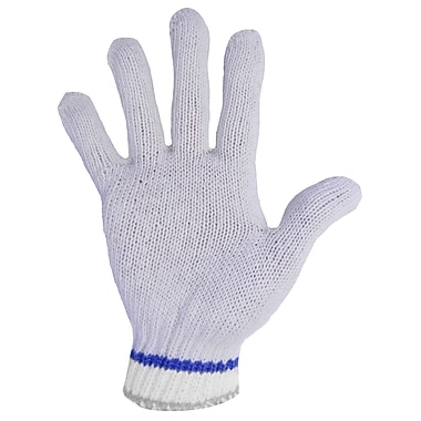 Ronco Poly/Cotton String Knit Gloves, Bleached White, Size 9