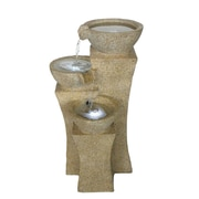 "Pure Garden 25"" Cascade Bowls Outdoor Fountain With LED Lights, Brown/Tan"