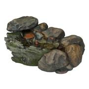 """Pure Garden 14"""" Cascading Stone Outdoor Fountain, Brown/Tan"""