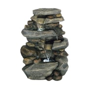 "Pure Garden 25 1/2"" Stone Waterfall Outdoor Fountain With LED Lights, Brown/Tan"