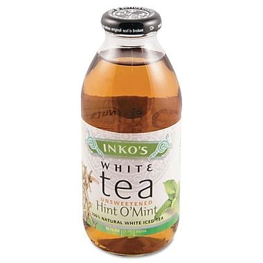 Inko's Ready-To-Drink Unsweetened Hint O' Mint White Tea, 16 oz. Bottle, 12/Carton