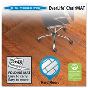"ES Robbins® EverLife™ Foldable Chair Mats, 36"" X 48"", Hard Floors, Clear (130082)"