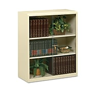 """Tennsco Executive Steel Bookcase With Glass Doors, Putty, 3-Shelf, 42""""H"""