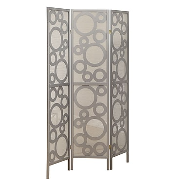 Monarch Framed 3-Panel Bubble Design Folding Screen, Silver