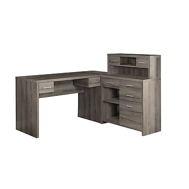 monarch bureau en l style vieux bois taupe fonc staples. Black Bedroom Furniture Sets. Home Design Ideas