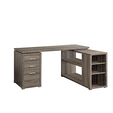 Monarch Reclaimed Look Left Right Facing Corner Desk Dark Taupe