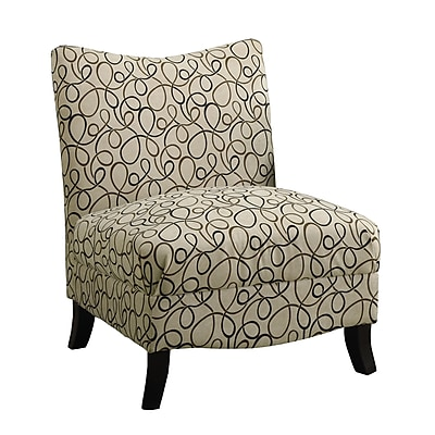 Monarch Swirl Fabric Rubber Wood Accent Chairs, Tan