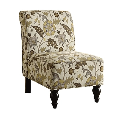 Monarch – Fauteuil d'appoint traditionnel à motifs floraux, brun/or
