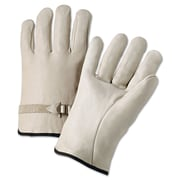 Anchor Brand Premium Driver Gloves, Cowhide Leather, Hemmed Cuff, L Size, Natural, 12 Pair/Box