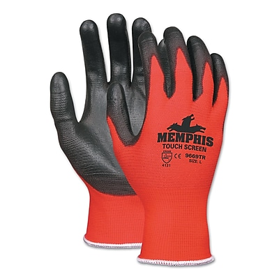 Memphis™ Touch Screen Nylon/Polyurethane Gloves, Black/Red, Large