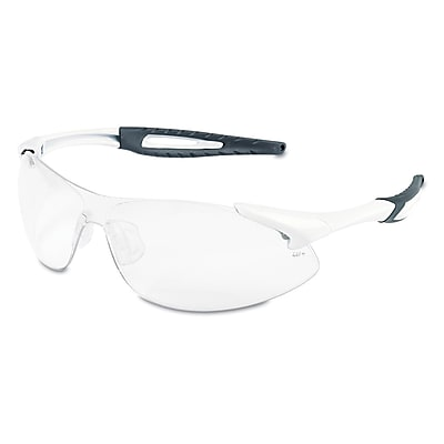 Crews Inertia Polycarbonate Safety Glasses White Frame and Clear Anti Fog Lens
