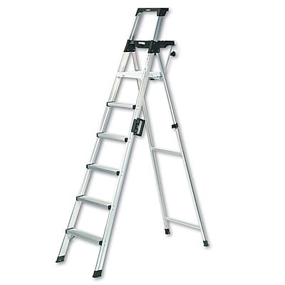 Cosco Products Cosco 8 foot Signature Series Step Ladder Type 1A, ALUMINUM/BLACK