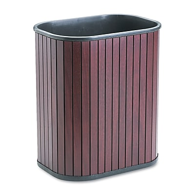 Advantus 3.25 gal. Hardwood Trash Can without Lid, Mahogany