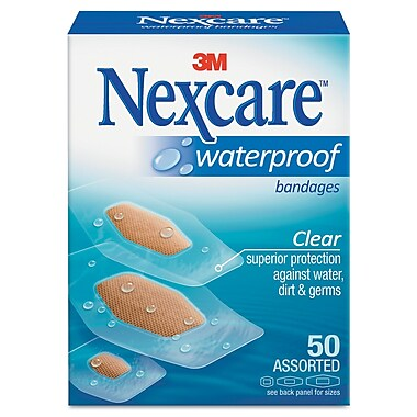 Nexcare 43250 Waterproof Adhesive Bandage 50/Pack, Clear