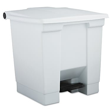 Rubbermaid® Commercial Plastic Step-On Receptacle Waste Container, White, 8 gal