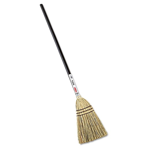 """Rubbermaid Commercial Lobby Corn Fill Broom 38"""" Handle Brown"""