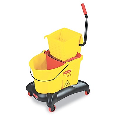 Rubbermaid Commercial Wavebrake 35 qt Dual Water Side Press Mop Bucket & Wringer Yellow