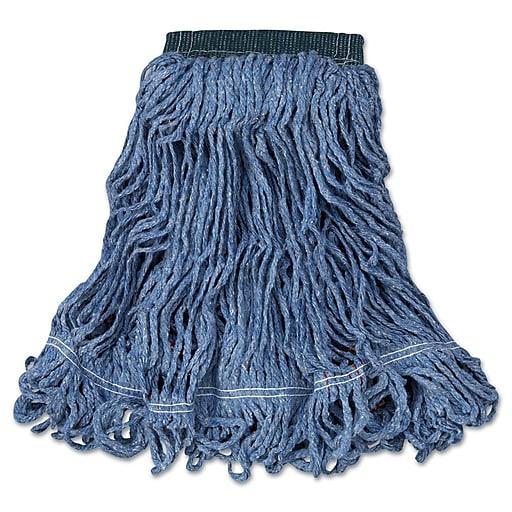 Rubbermaid Commercial Swinger Loop Wet Mop Heads, Cotton/Synthetic, Blue, Medium, 6/Case