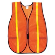 MCR Safety® Safety Vests; Poly Mesh, One Size, Hoop & Loop, Orange