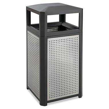 Safco® Side Opening Steel Waste Receptacle, 15 gal, Black/Gray