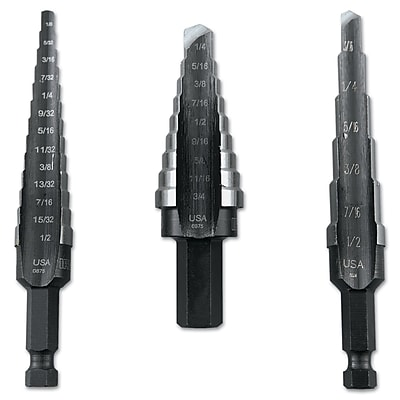 Unibit® HSS 3 pcs Self Starting Step Drill Set, Includes #1, #2, #3
