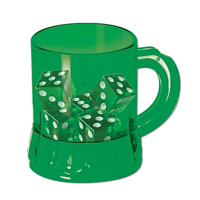 Beistle 3 oz. St Pats Mug Shot Game With Dice, Green, 24/Pack