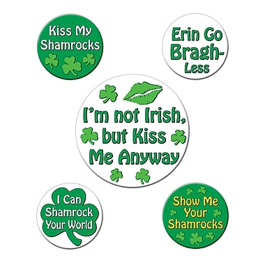 Beistle St Patrick's Funny Party Buttons, 2 1/3
