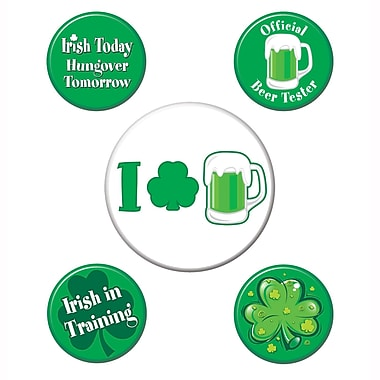 Beistle St Patrick's Party Buttons, Assorted Sizes, 15/Pack