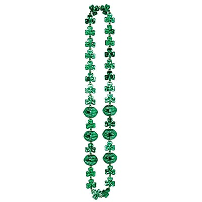 Beistle Shamrock Beads Necklace With Kiss Me Lips, 42