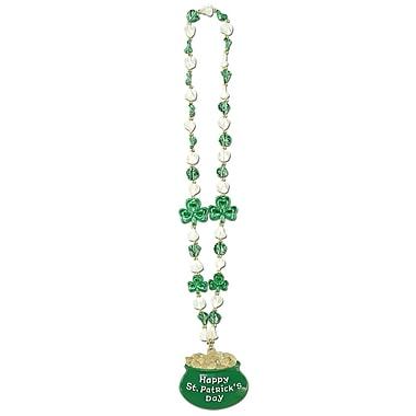 Beistle – Collier de perles en forme de trèfle avec pendentif chaudron d'or, 39 po, paquet de 3