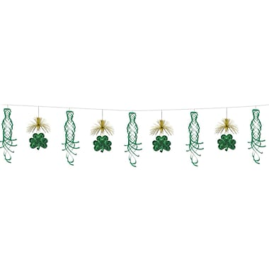Beistle 10' Shamrock Shimmer Garland, Green/Gold, 2/Pack