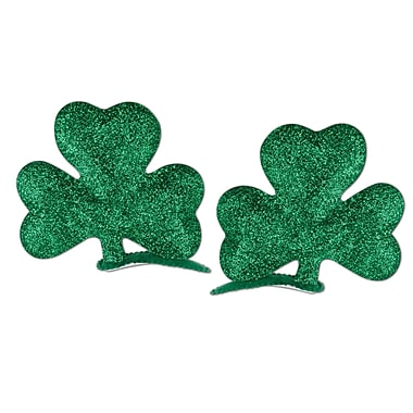 Beistle Glittered Shamrock Hair Clips, 6/Pack