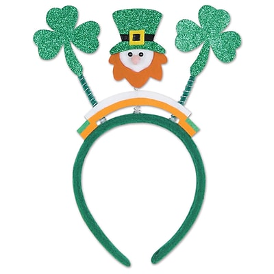 Beistle Glittered Shamrock Boppers With Leprechaun, Green
