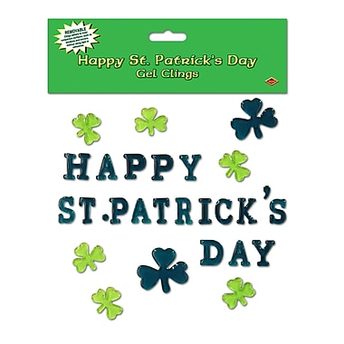 Beistle Happy St Patrick's Day Gel Clings, 7 1/2