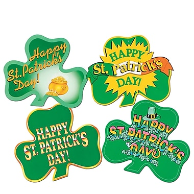 Beistle Packaged St Patrick's Day! Shamrock Cutouts, 16