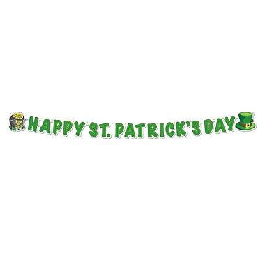 Beistle – Banderole « Happy St Patrick's Day », 5 po x 5 pi, paquet de 5