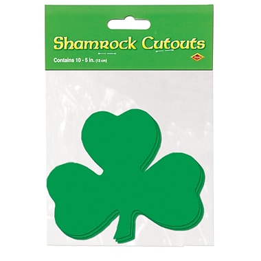 Beistle Packaged Printed Shamrock Cutouts, 5